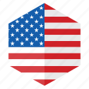 america, country, design, flag, hexagon, usa icon
