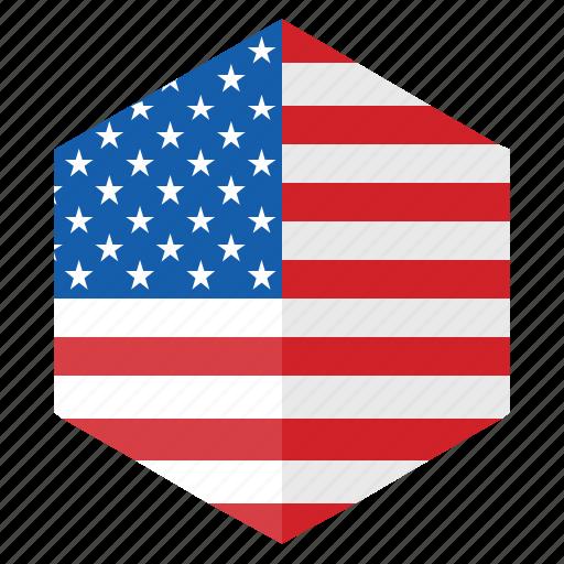 america, country, design, flag, hexagon, usa icon