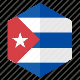 america, country, cuba, design, flag, hexagon icon