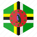 america, country, design, dominica, flag, hexagon icon
