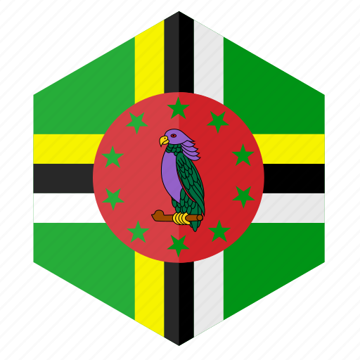 america, country, design, dominica, flag, hexagon icon