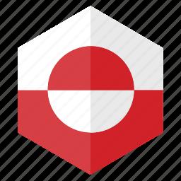america, country, design, flag, greenland, hexagon icon