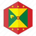 america, country, design, flag, grenada, hexagon icon