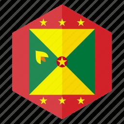 america, country, design, flag, grenada, hexagon icon