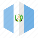 america, country, design, flag, guatemala, hexagon icon