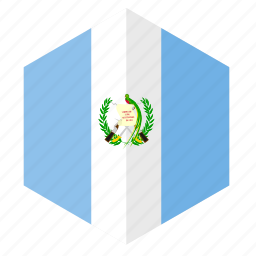 america, country, design, flag, guatemala, hexagon icon