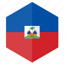 america, country, design, flag, haiti, hexagon icon