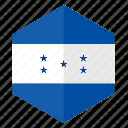 america, country, design, flag, hexagon, hondurus icon