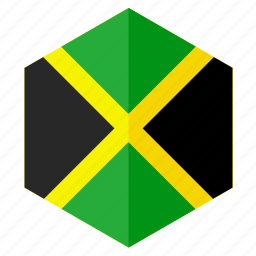 america, country, design, flag, hexagon, jamaica icon