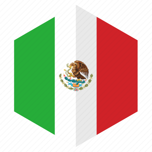 america, country, design, flag, hexagon, mexico icon