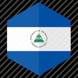 america, country, design, flag, hexagon, nicaragua icon