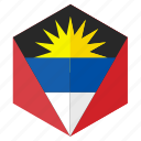 america, antigua barbuda, country, design, flag, hexagon icon