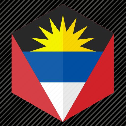 america, antigua barbuda, country, design, flag, hexagon icon
