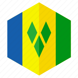 america, country, design, flag, hexagon, saint vincent icon