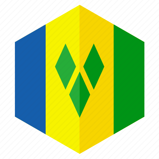 america, country, design, flag, hexagon, saint vincent icon