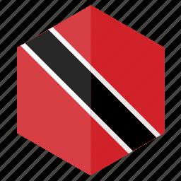america, country, design, flag, hexagon, trinidad and tobago icon