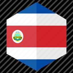 america, costarica, country, design, flag, hexagon icon