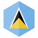 america, country, design, flag, hexagon, saint lucia icon