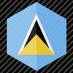 america, country, design, flag, hexagon, saint lucia icon