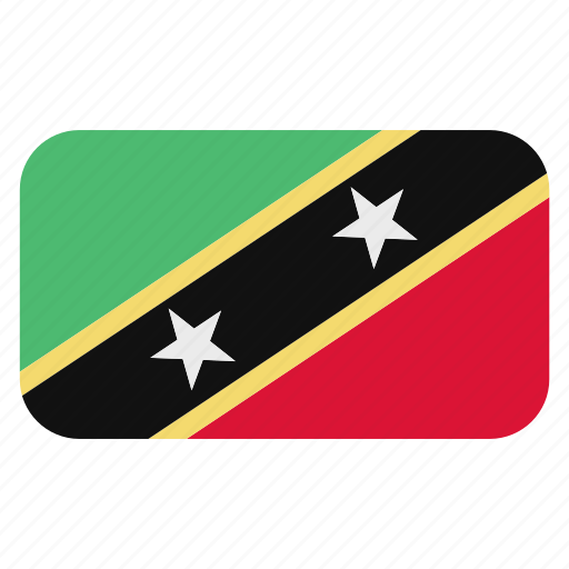 and, flag icon, kitts, nevis, north america, rounded, saint icon