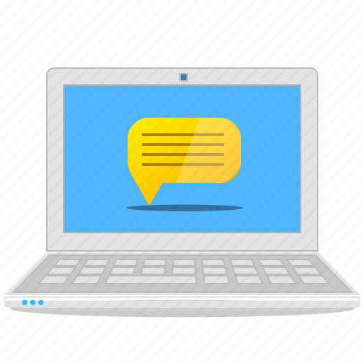 chat, computer, email, laptop, message, notebook, notification icon