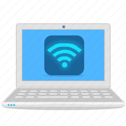 computer, connection, internet, laptop, notebook, wifi icon