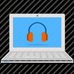 computer, headphone, laptop, music, notebook, sound icon