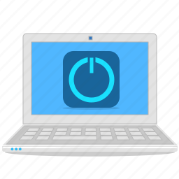 computer, laptop, notebook, power, power off icon