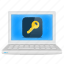 laptop, notebook, password, security icon