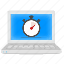 laptop, notebook, performance, schedule, timer icon