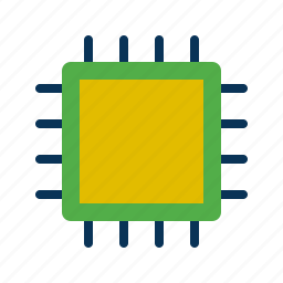 chip, computer, device, technology icon