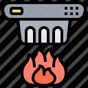 alarm, detector, fire, smoke, warning icon