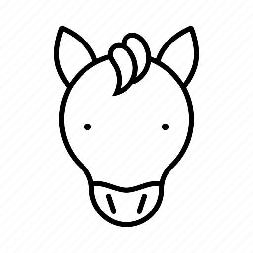 animal, cartoon, face, head, horse icon