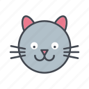 animal, cartoon, cat, face, head, pet icon