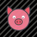 animal, cartoon, cattle, face, farm, head, pig icon