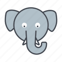 animal, cartoon, elephant, face, head, wildlife icon