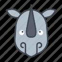 animal, cartoon, face, head, rhino, wildlife