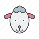 animal, cartoon, cattle, face, head, lamb, sheep icon