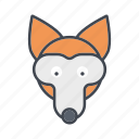 animal, cartoon, face, fox, head, wildlife