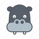 animal, cartoon, face, head, hippo, wildlife