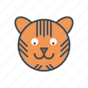 animal, cartoon, face, head, tiger, wildlife icon