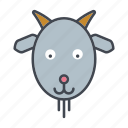 animal, cartoon, cattle, face, goat, head icon
