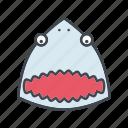animal, cartoon, face, fish, head, jaws, shark icon