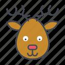 animal, cartoon, deer, face, head, reindeer, wildlife