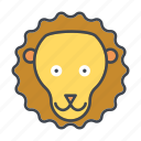 animal, cartoon, face, head, lion, wildlife icon