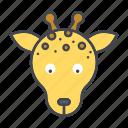 animal, cartoon, face, giraffe, head, wildlife icon