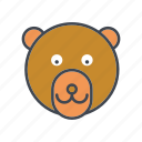 animal, bear, cartoon, face, head, wildlife