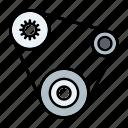 automotive, car parts, engine belt, fan belt, repair, service, timing belt icon