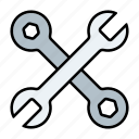 automotive, crossed, repair, service, spanner, tools, wrenches icon