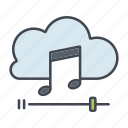 cloud, entertainment, media, multimedia, music, streaming, technology icon